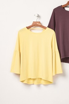 Washed Flute Sleeve Top