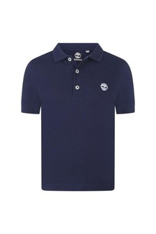 Boys Navy Organic Cotton Polo Top