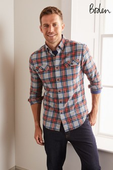 Boden Grey Marl/Red Check Flannel Shirt
