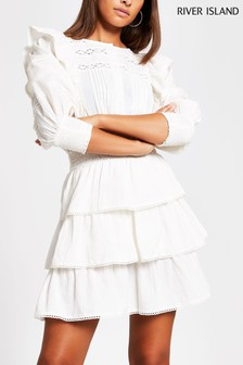 River Island White Trim Detailed Tiered Dress