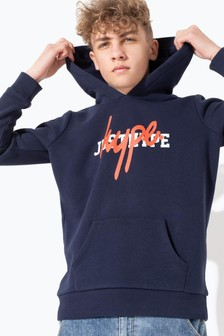 Hype. Red/White Double Hype. Logo Navy Hoody