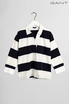 GANT Blue Feminine Striped Rugby Top