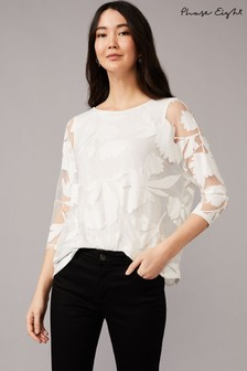 Phase Eight Cream Cerys Floral Burnout Top