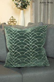 Dinaric Graphic Cut Velvet Cushion by Ashley Wilde