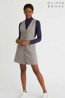 שמלת סרפן מיני עם משבצות של Oliver Bonas דגם Dawn בחום