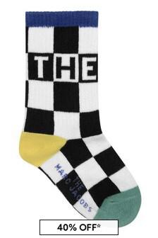 Marc Jacobs Boys Black Damier Jacquard Cotton Socks