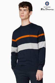 Ben Sherman Navy Stripe Crew Neck Jumper