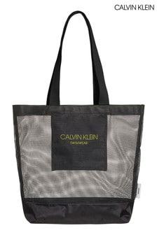 תיק יד לחוף של Calvin Klein דגם Branded Mesh בשחור
