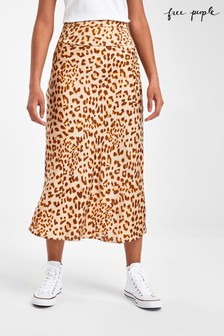 Free People Leopard Print Satin Skirt
