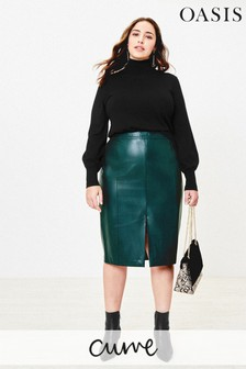 Oasis Green Curve Faux Leather Skirt