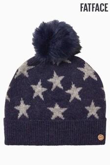 FatFace Blue Star Pom Beanie Hat