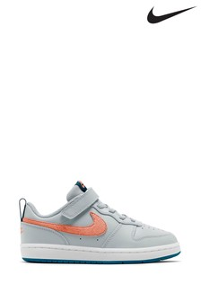 Nike Grey/Pink Court Borough Low Velcro Junior Trainers