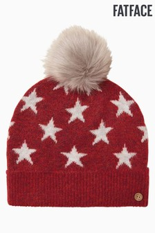 FatFace Red Star Pom Beanie Hat