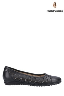 Hush Puppies Black Leah Ballerina Pumps