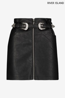 River Island Black Western PU Mini Skirt