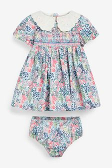 Laura Ashley Baby Girl Smock Prom Dress And Knicker
