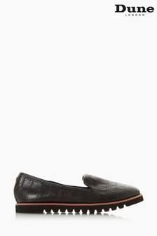 Dune London Galleon Black Croc Print Leather Printed Sport Loafers