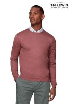 T.M. Lewin Parker Supima® Cotton Silk Slim Fit Crimson Crew Neck Jumper