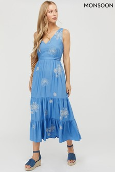 Monsoon Blue Cersei Embroidered Dress