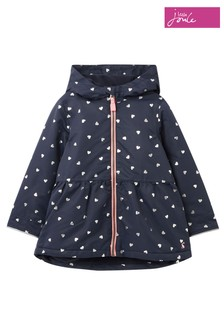 Joules Blue Raindrop Foil Hearts Waterfall Raincoat