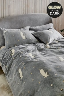 Fleece Glow In The Dark Penguins Duvet Cover and Pillowcase Set