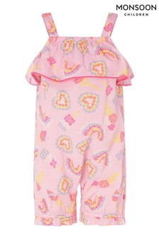 Monsoon Pink Baby Heart And Rainbow Frill Jumpsuit