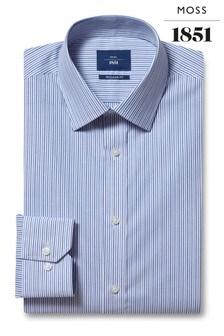 Moss 1851 Regular Fit Blue Single Cuff Stripe Shirt