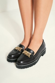 Chunky Sole Chain Detail Loafers