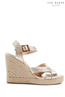 Ted Baker Gold Espadrille Wedges