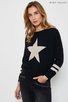Mint Velvet Black Studded Star Jumper