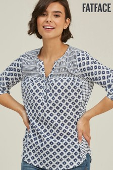 FatFace Natural Elodie Vintage Geo Popover Blouse