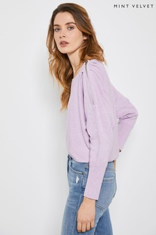 Mint Velvet Purple Lilac Zip Batwing Jumper