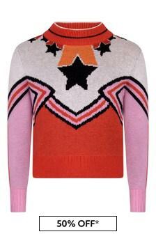Stella McCartney Kids Girls Ivory/Pink Cheerleader Jumper