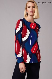 Phase Eight Blue Maebury Leaf Blouse