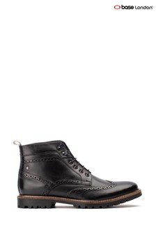 Base London® Black Bower Waxy Lace-Up Boots
