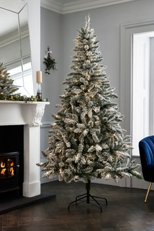 Lit Snowy 7ft Lit Christmas Tree