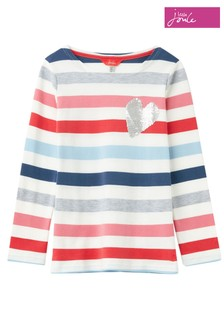 Joules White Harbour Luxe Multi Heart Jersey Top