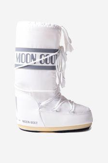 Moonboots Kids White Nylon Snow Boots