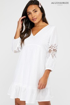 Accessorize White Organic Sleeved Lace Dress