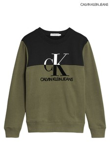 Calvin Klein Green Monogram Colourblock Sweatshirt