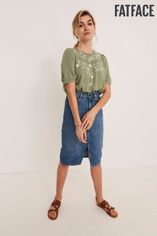 FatFace Green Claire Embroidered Blouse