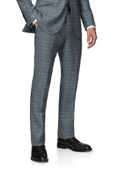 T.M. Lewin Hampstead Slim Fit Wool Silk Cashmere Blue And Taupe Check Trousers