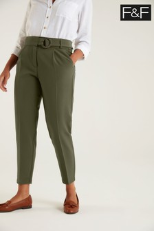 F&F Khaki Fashion Tapered Trousers