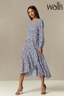 Wallis Petite Navy Floral Print Midi Dress
