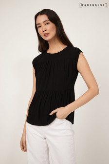 Warehouse Black Tiered Sleeveless Top