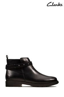Clarks Black Leather Astrol Soar Youth Boots