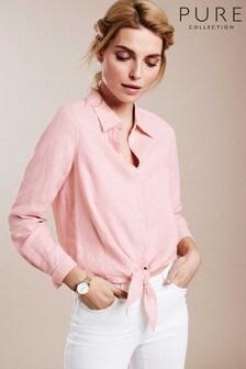 Pure Collection Pink Linen Tie Hem Shirt