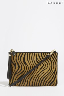 Warehouse Brown Tiger Leather Multiway Bag