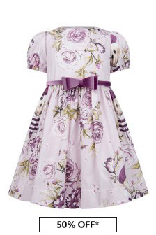 Girls Pink Cotton Parisian Rose Dress