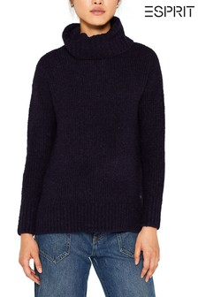 Esprit Blue Wool/Alpaca Blend Roll Neck Jumper